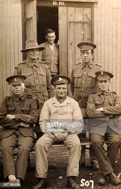 A group of wounded soldiers including one from Australia pose for a group photograph in Northern France during World War One circa 1917