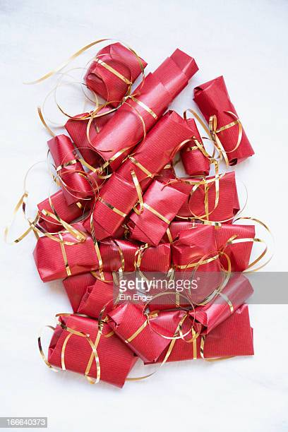 Group of wrapped gifts.