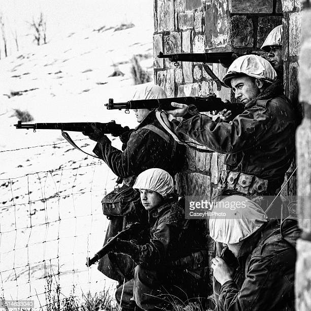 Group of WWII Winter Soldiers Taking Aim