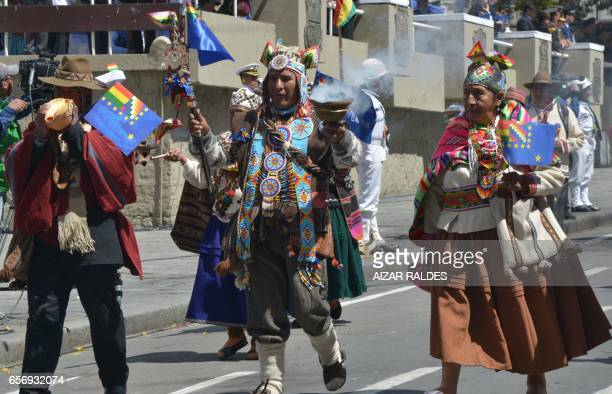 A group of 'Yatiris' take part in civilmilitary parade during the ceremony that marks the 138th anniversary of the Calama battle against Chile where...