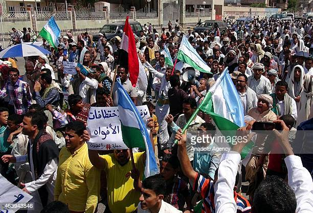 A group of Yemeni demonstrators protest political intervention in the country by the Ensarullah Movement through slogans and placards in Al Hudaydah...