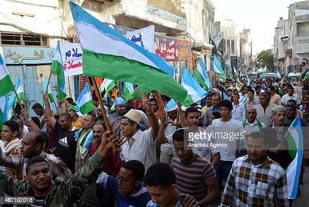 A group of Yemeni stage a protest against the control of the capital by Shiite Houthi rebels in AlHudaydah province Sanaa Yemen on January 24 2015