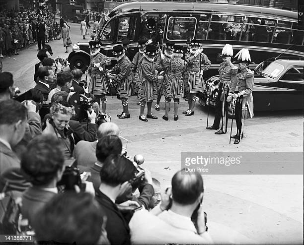 Group of Yeoman Warders during a rehearsal in London for the coronation of Queen Elizabeth II, 29th May 1953.