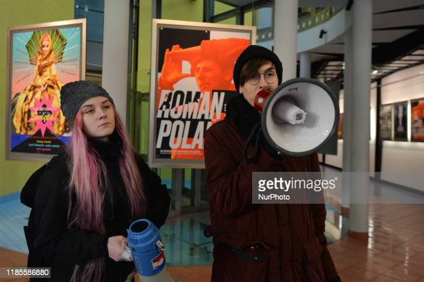 A group of young activists organized a protest in 'Solidarity Against The Rape Culture In The Film Industry' at the Polish National Film School in...