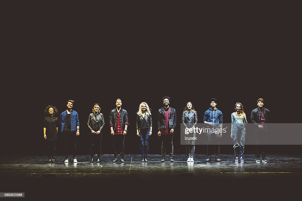 Group of young actors on the stage : Stock Photo