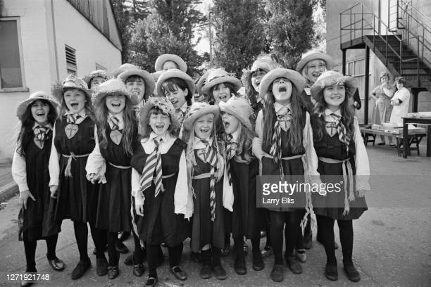A group of young actresses on the set of the comedy film 'The Great St Trinian's Train Robbery' UK 10th April 1965