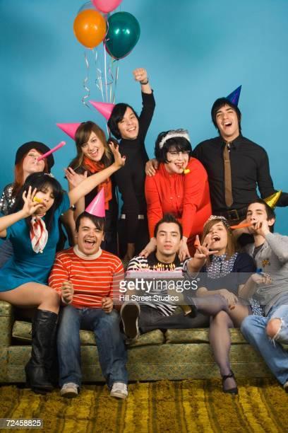 group of young adults having birthday party - happy birthday vintage stockfoto's en -beelden