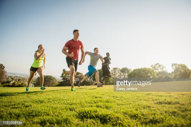 group of young adults on training run in field - warming up stock pictures, royalty-free photos & images