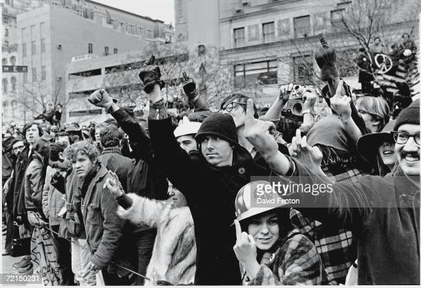 A group of young Americans protest and show displeasure by giving 'the finger' during the inauguration of President Richard Nixon Washington DC...
