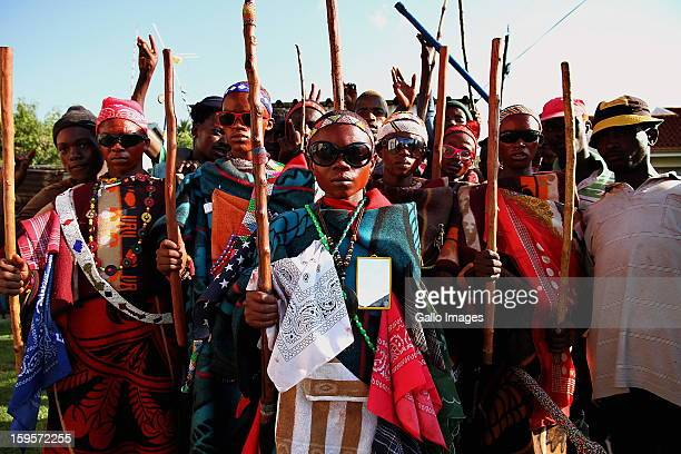 A group of young boys return home from an initiation school on January 7 2013 in Sebokeng South Africa In the African culture young boys go through a...