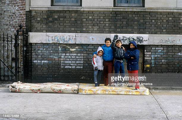 Group of young children in Urban Ghetto, Bronx, NY