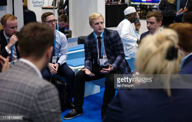 Group of young conservatives hold a meeting on the second day of the Conservative Party Conference at Manchester Central on September 30, 2019 in...