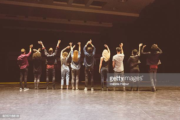 group of young dancers on the stage - actor stock pictures, royalty-free photos & images