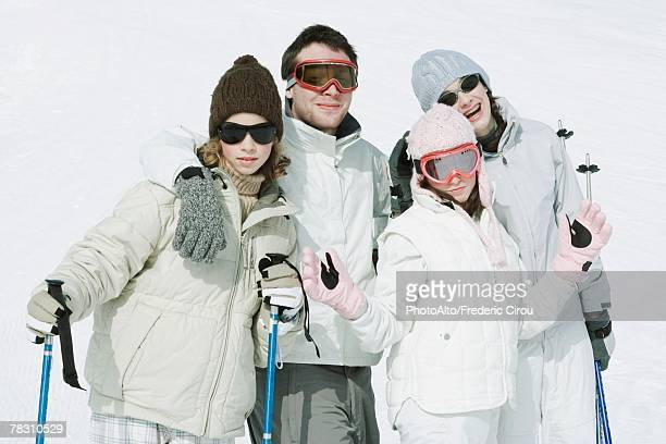 Group of young friends in ski gear, portrait