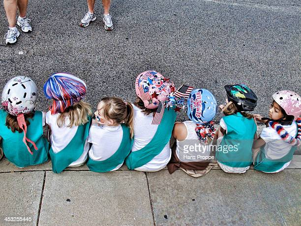 CONTENT] A group of young girls waiting for their turn to join the Fourth of July Parade in Newhall California