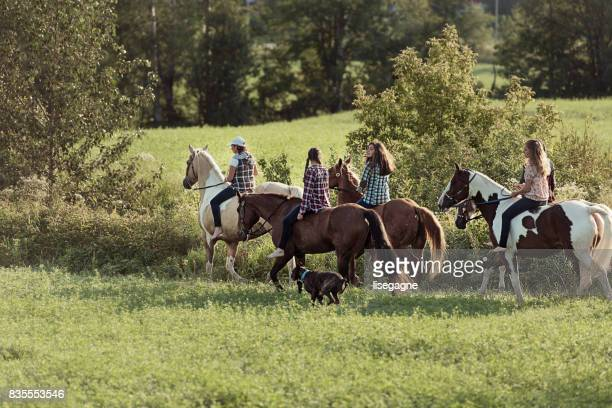 group of young horse riders - andare a cavallo foto e immagini stock