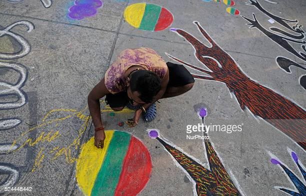 Group of young Indian artist did artwork on the streets of Kolkata to celebrate International Mother Language Day which is celebrated on 21st...