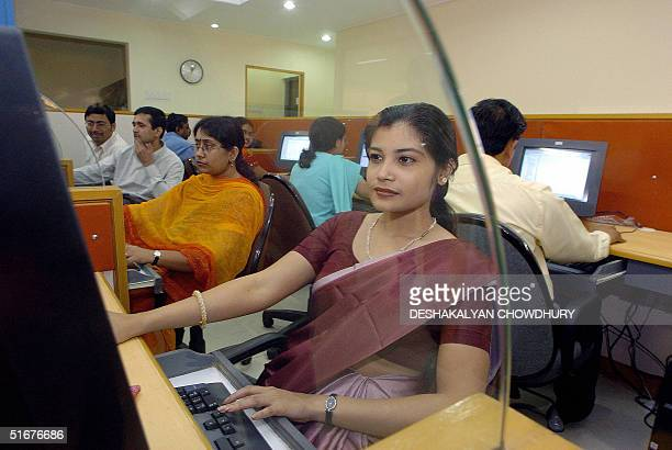 A group of young Indian software designers work on a newly estublished setup of Metalogic Systems a software solution in the field of insurance and...