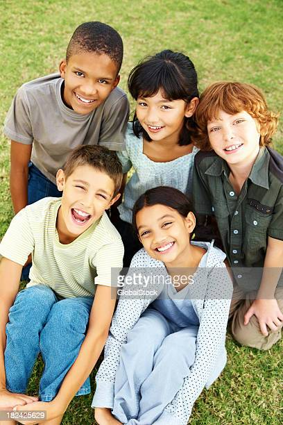 Group of young kids having fun