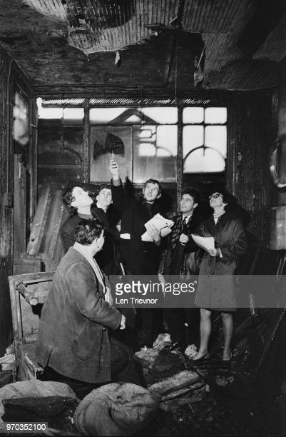 A group of Young Liberals holding a press conference in a slum on White Lion Street Islington London UK 9th February 1967 they are Roy Groundon...