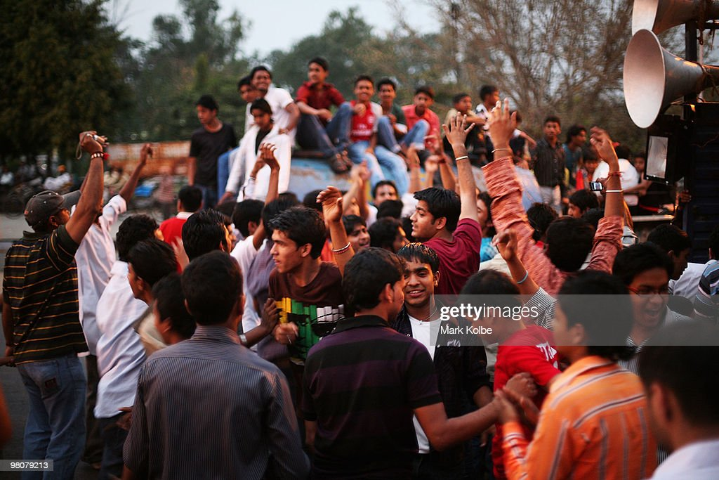 A group of young men dance as locals of Chandigarh take to the street as they celebrate Ram Navmi religious festival on March 25 2010 in Chandigarh...
