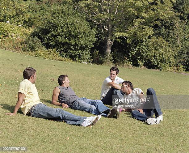Group of young men relaxing on grass