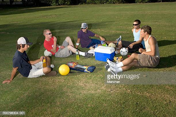 group of young men sitting on grass with picnic and footballs - tee sports equipment stock photos and pictures