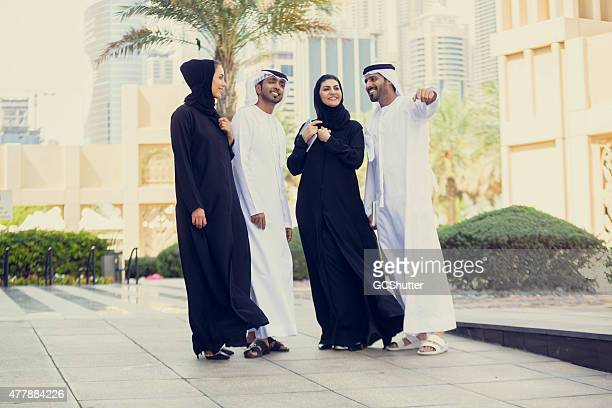 Group of young modern arabs in Dubai, United Arab Emirates
