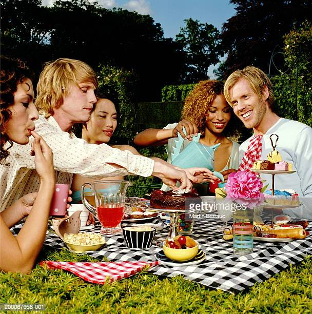 Group of young people having picnic in garden