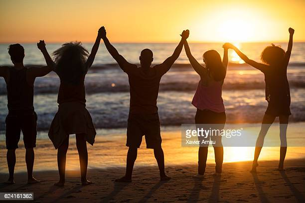 group of young people looking at sunset - california strong stock photos and pictures
