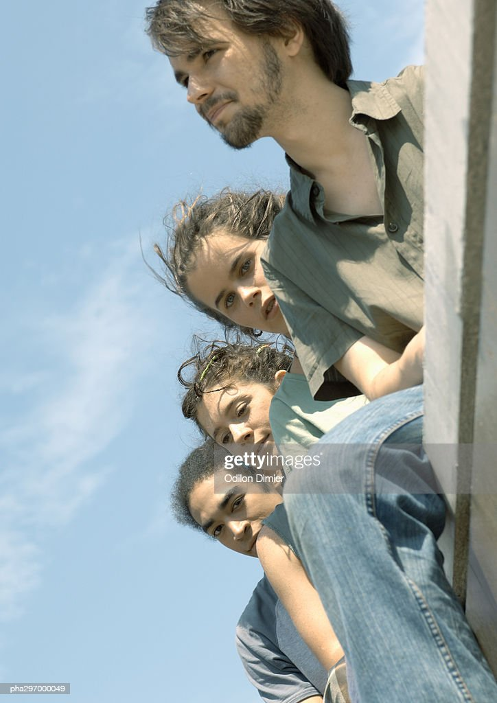 Group of young people, low angle view : Stockfoto