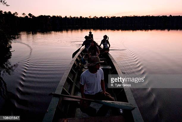 a group of young people paddling a canoe and having fun on lake sandoval at sunset. - peruvian amazon stock pictures, royalty-free photos & images