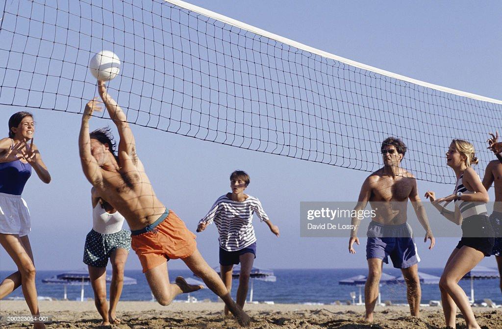Joyful Girls Playing Volleyball Stock Image - Image of