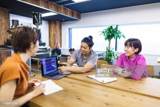 現代のコワーキングスペースで一緒に働く若者たちのグループ - フリーランス ストックフォトと画像