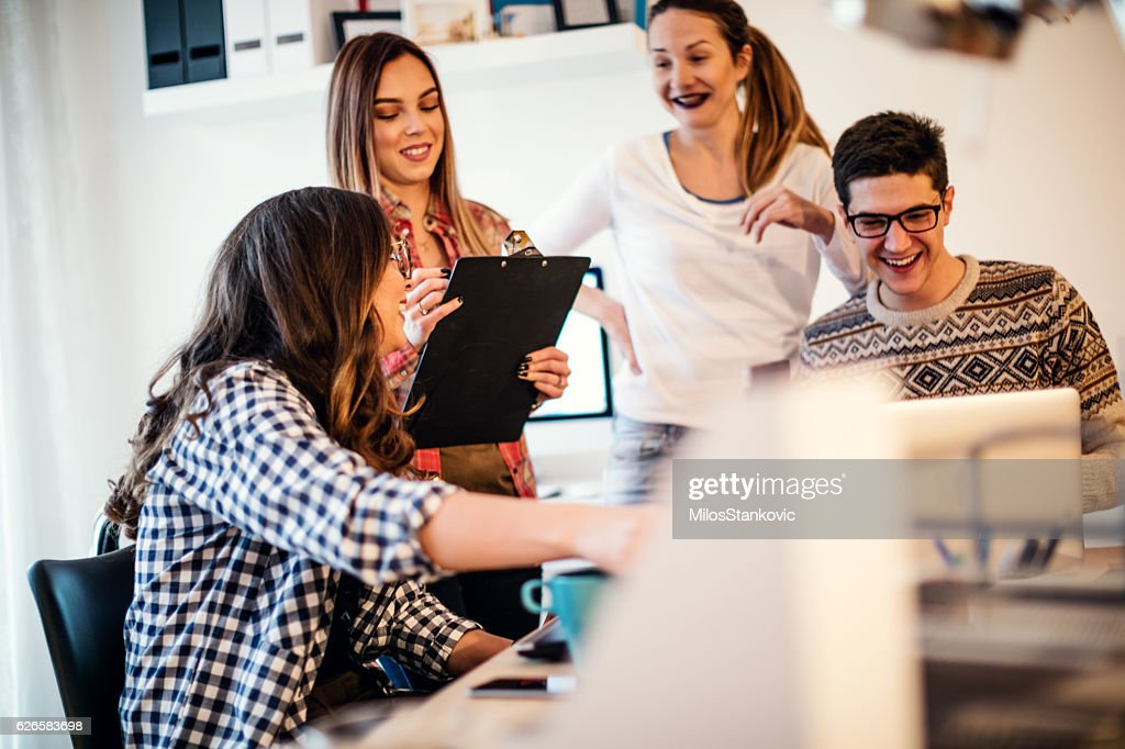 Group Of Young People Working Together Stockfoto Getty Images