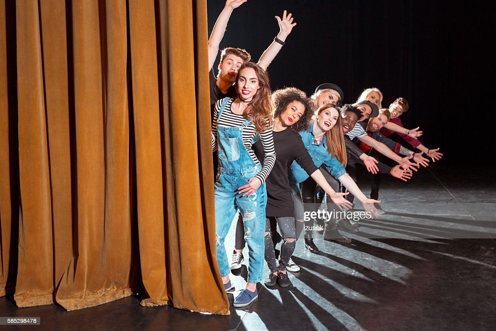 Group of young performers on the stage : Stock Photo