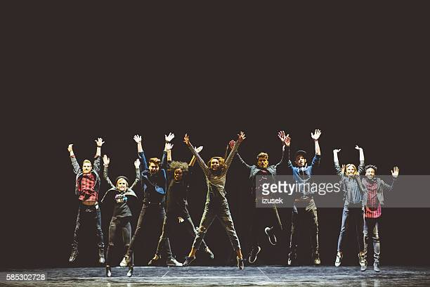 group of young performers on the stage - performance stock pictures, royalty-free photos & images