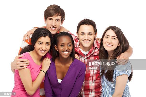 grupo de jovens pessoas positivas - cinco pessoas - fotografias e filmes do acervo