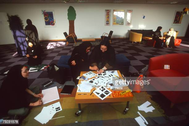 A group of young Saudi women participate in an Interior Design class at the Dar AlHekma College for Women where three majors Business Information...