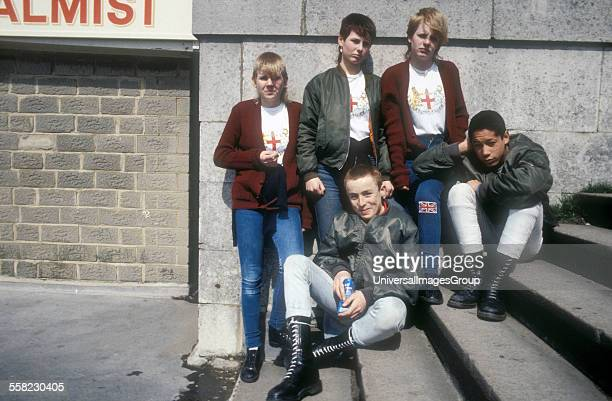 Group of young skinhead boys and girls Brighton 1985