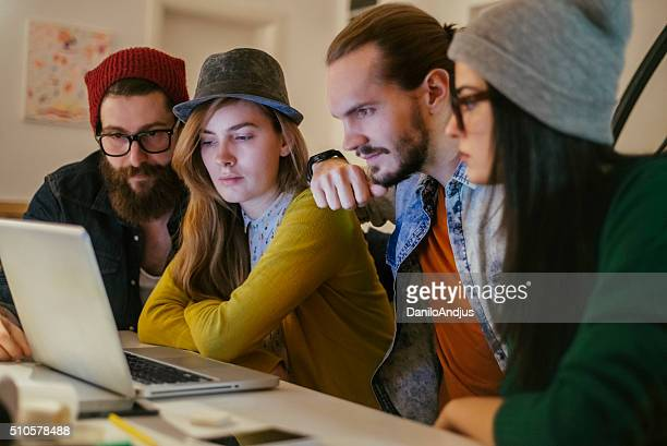 group of young team working togheter