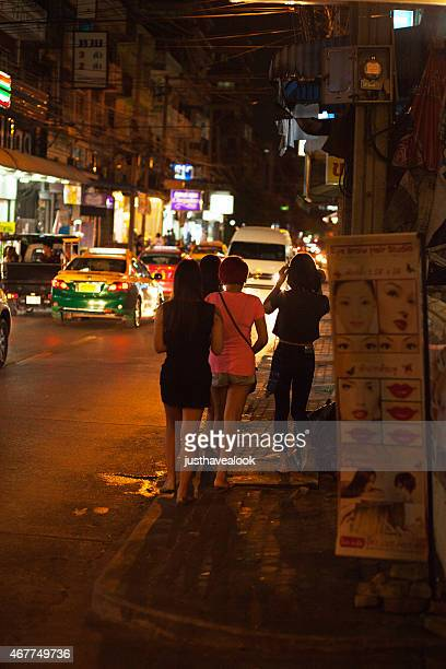 group of young thai ladyboys in student area - ladyboys of bangkok stock photos and pictures