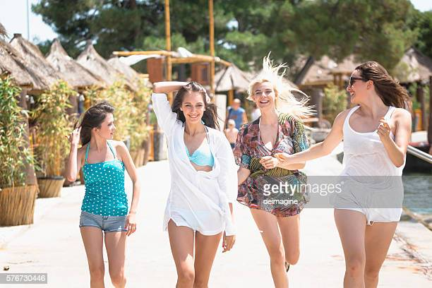 Group of young women are enjoying vacation