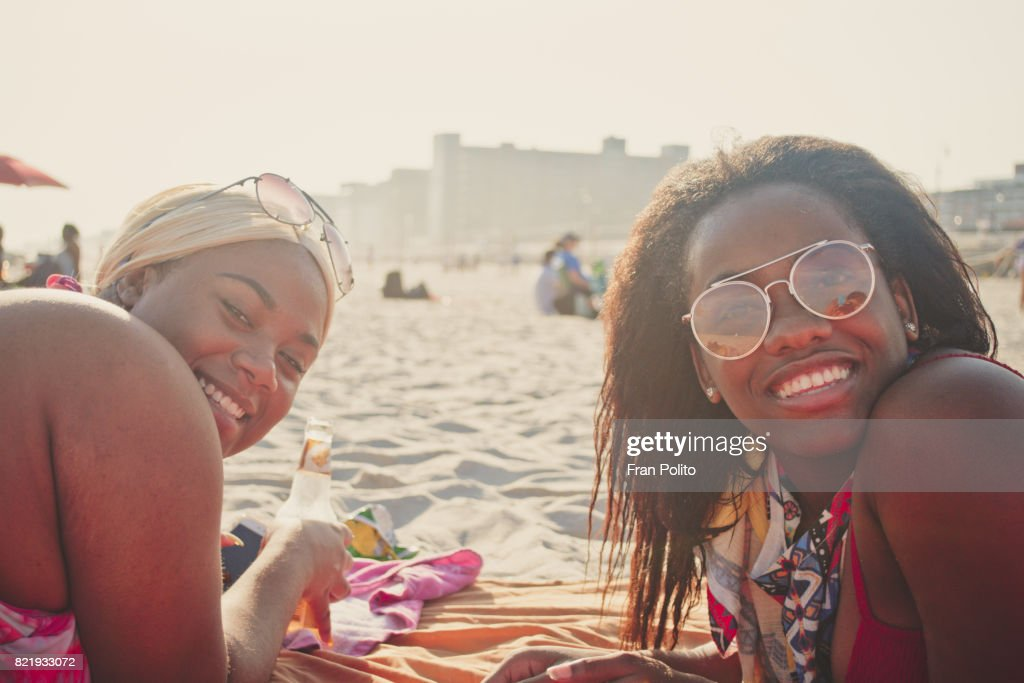 A group of young women at the beach. : Stock Photo