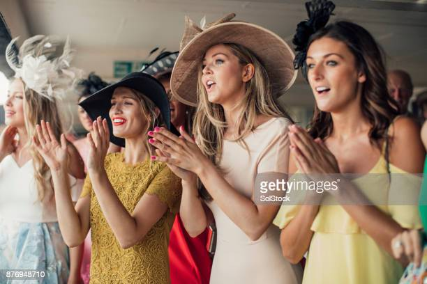 group of young women - newcastle races stock photos and pictures