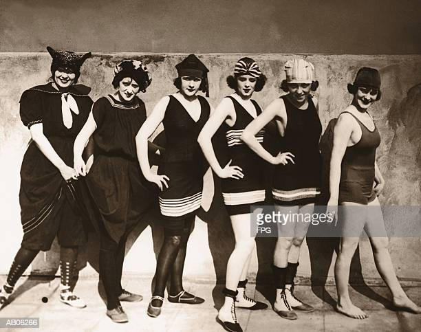 group of young women wearing bathing suits, portrait (b&w sepia) - medium group of people stock pictures, royalty-free photos & images