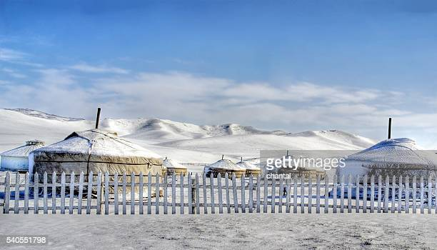 group of yurts ( ger) in ulan bator at wintertime , mongolia - モンゴル ストックフォトと画像