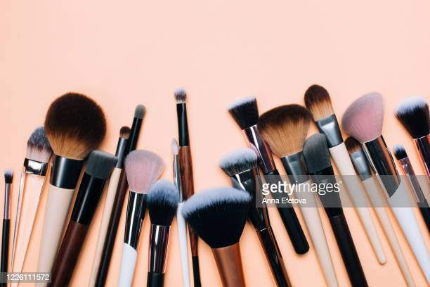 group of zero waste makeup brushes - 舞台化粧 ストックフォトと画像