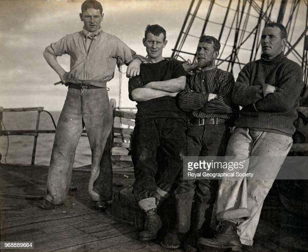 Group on the fo'castle off New Zealand , New Zealand, 1910. British Antarctic Expedition 1910-1913.