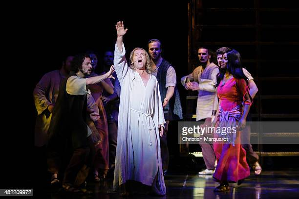Group performance with main actor Glenn Carter and Rachel Adedeji during a rehearsal for the Jesus Christ Superstar Musical Press Call at Deutsche...